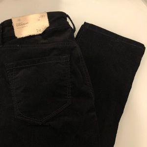 LOFT Pants - Loft Black Modern Straight Velvet Corduroy 24 00